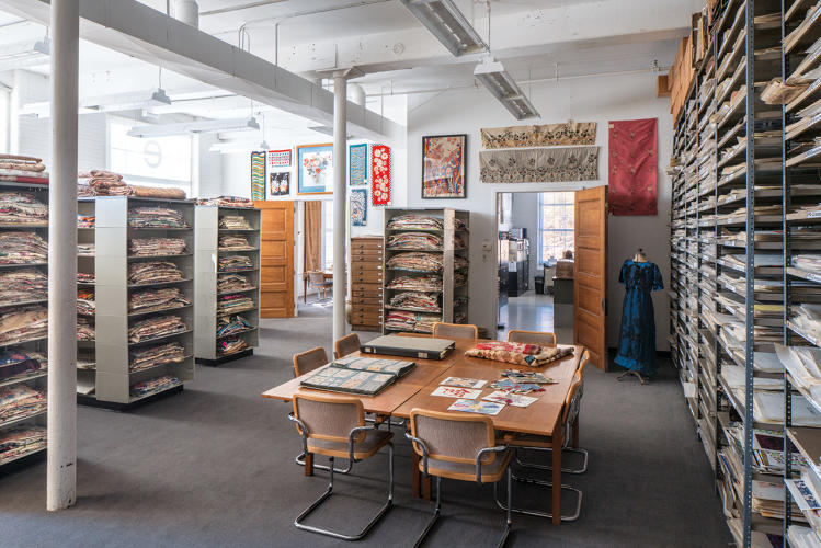 <p>The Design Library holds more than 7 million different documentary fabrics, original paintings, wallpapers, embroideries, and yarn dyes inside a huge, 12,000-square foot converted fabric mill.</p>