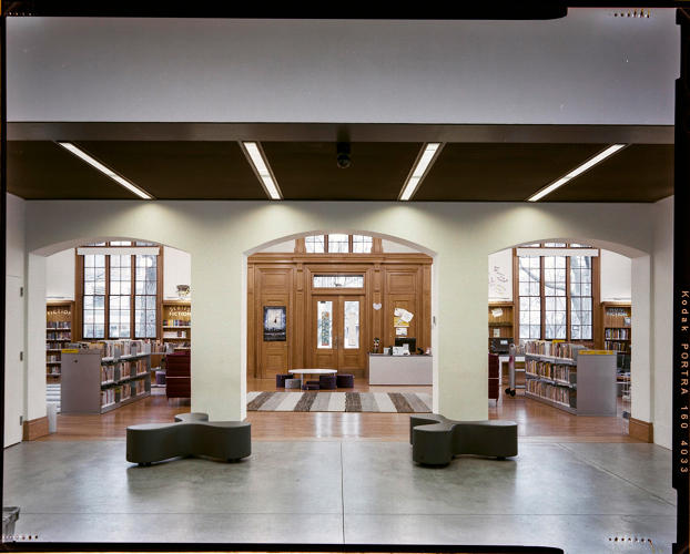 <p>Inside the Stapleton Branch in Staten Island</p>