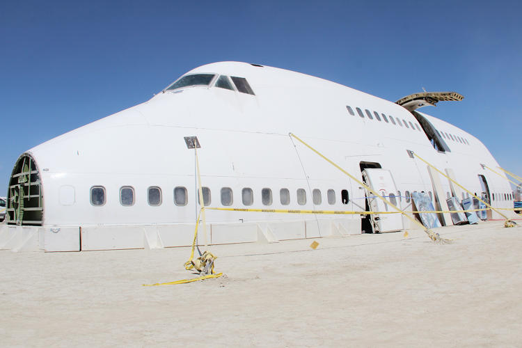 <p>A view of the partial 747 hull during Burning Man build week.</p>