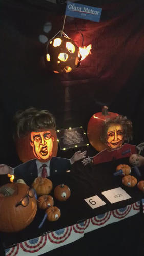 <p>A flaming asteroid pumpkin hovers above the 2016 political scene.</p>