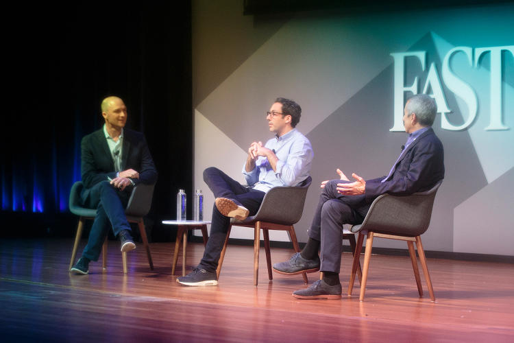 <p>Fast Company's Noah Robischon (far left) with Neil Blumenthal and Danny Meyer.</p>