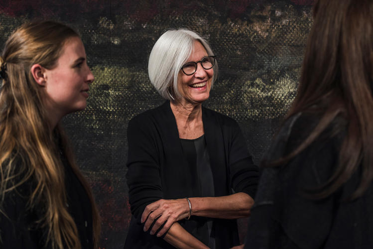 <p>Eileen Fisher with (left) Teslin Doud, one of the Parsons graduates who helped her create Remade in the USA.</p>
