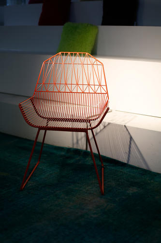 <p>A wireframe chair at Live in the Grey, which helps other companies build connected workplaces</p>