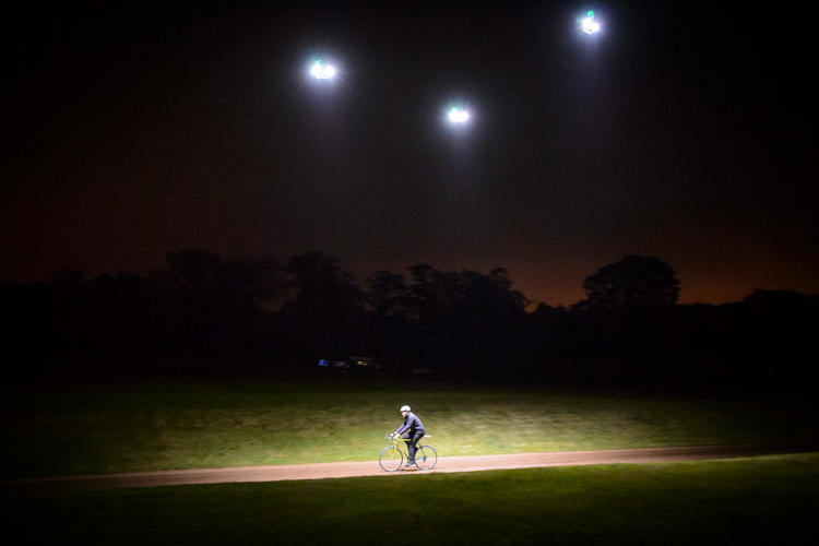 <p>One drone flies ahead, and two fly to the side, each equipped with lightweight, high-powered lights.</p>