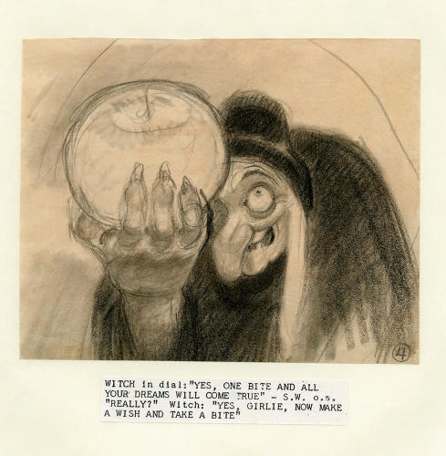 "<p>""Go on! Have a bite!"" Story sketch of the Witch smiling as she proffers the poisoned apple.</p>"