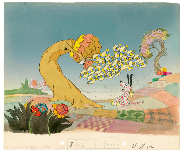 <p>Cel setup from Lullaby Land (1933), depicting the baby's dream landscape. The baby demolishes timepieces hanging from a tree. The tree is seen in the film but is missing from this partial setup.</p>