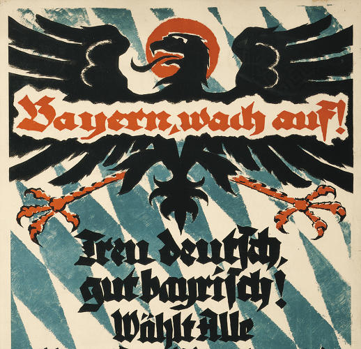 <p>Another excerpt from the eagle section shows a piece of World War I propaganda. The message? &quot;Bavarians, Wake Up!&quot;</p>