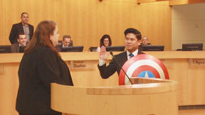 A California City Councilman Brought Captain America's Shield To His Swearing In