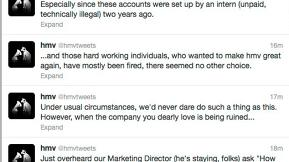 HMV Employee Live-Tweets Layoffs From Company's Twitter Account, @HMVTweets